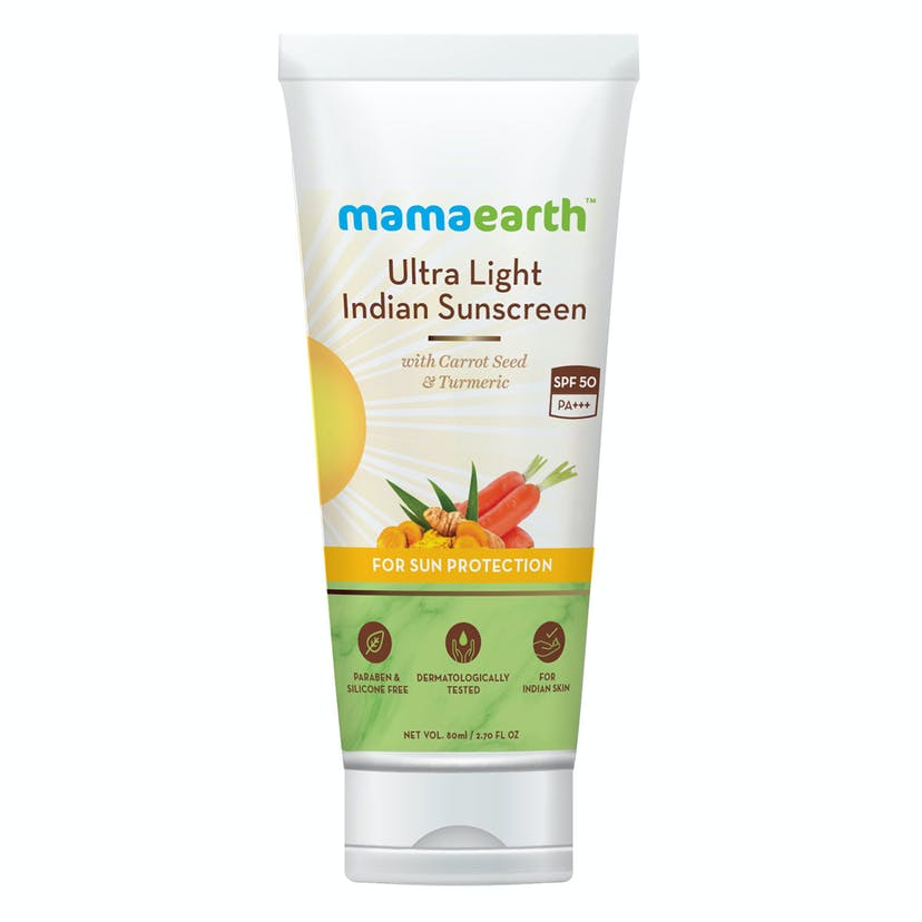Mamaearth Ultra Light Indian Sunscreen with Carrot Seed, Turmeric & SPF 50 PA+++
