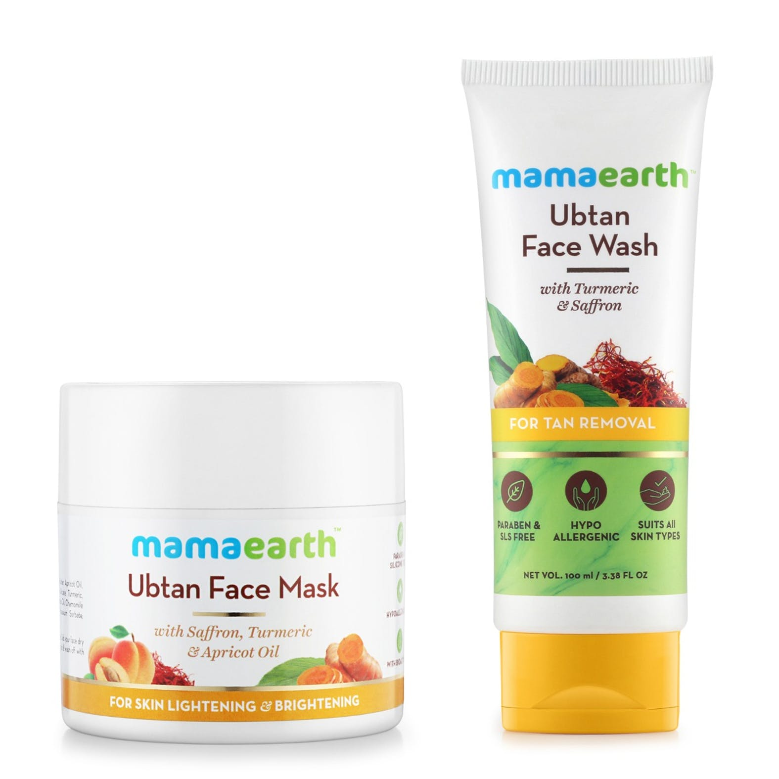 Skin Lightening And Brightening Combo Ubtan Facemask Ubtan Facewash 100 Ml Each Mamaearth